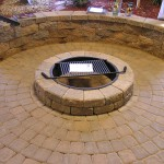 Firepit patio area made with concrete blocks